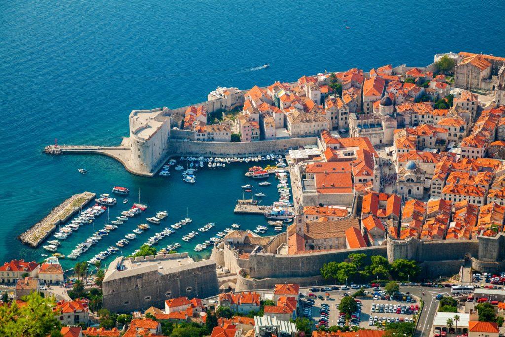 aerial view dubrovnik old port centre city dalmatian coast adriatic sea croatia Large