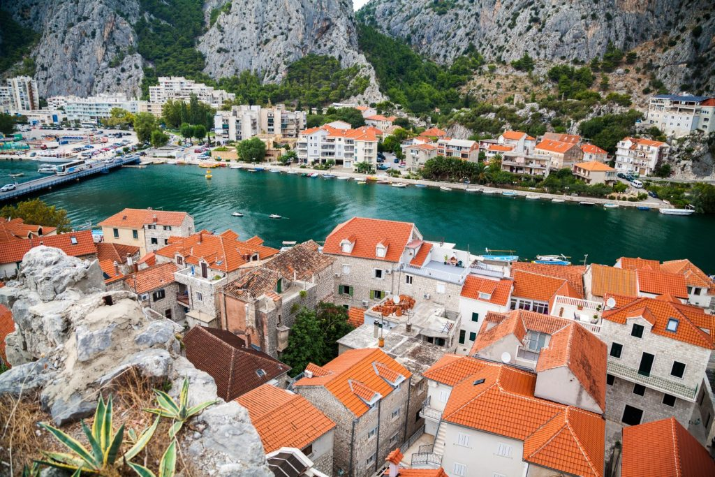 view from small houses river cetina town omis makarska riviera croatia Large